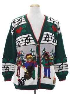 1980's Unisex Bear-riffic Ugly Christmas Cardigan Sweater