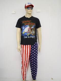 1980's Mens Totally 80s Rex Kwon Do American Flag Baggy Pants