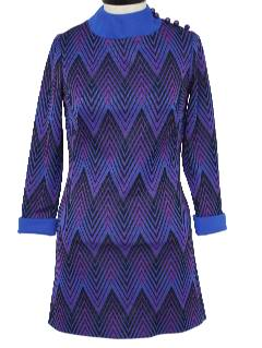 1970's Womens Ultra Mod Designer Knit Mini Dress