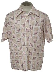 1970's Mens Print Disco Style Golf Shirt