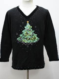 1980's Womens Ugly Christmas Sequined Cocktail Sweater