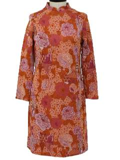 1970's Womens Mod Knit Asian Inspired Dress