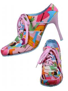 1980's Womens Accessories - Totally 80s Style High Heeled Sneakers Shoes with Stilleto Heel