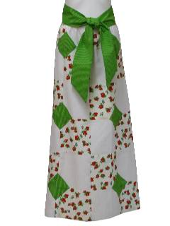 1980's Womens Christmas Green, Red and White Hippie Patchwork Skirt