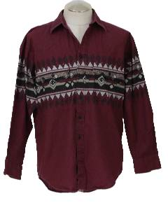 1990's Mens Wicked 90s Geometric Western Shirt