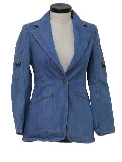 1980's Womens Denim Blazer Style Jacket