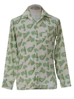 1970's Mens Print Disco Style Sport Shirt