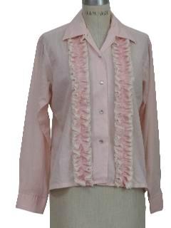 1960's Womens Tuxedo Shirt