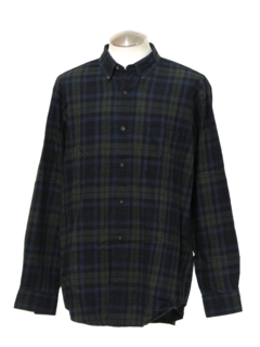 1990's Mens Preppy Plaid Sport Shirt