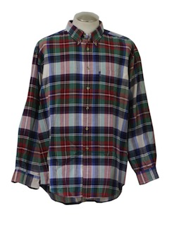 1990's Mens Plaid Sport Shirt