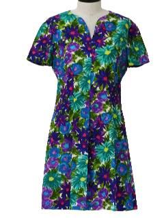 1960's Womens Floral Cotton Dress