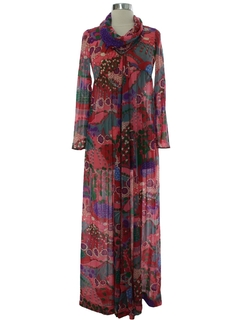 1970's Womens Hippie Designer Maxi Dress