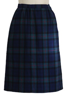 1970's Womens Plaid Wool Flat Front Skirt