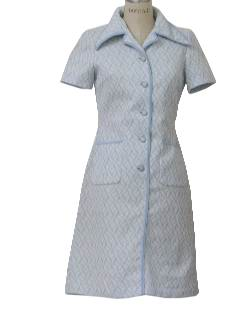 1970's Womens Mod Knit House Dress