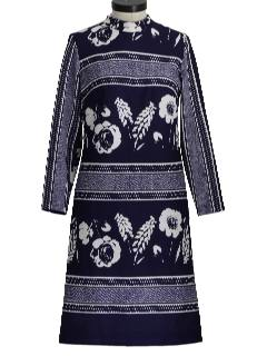 1970's Womens Mod Knit Print Dress
