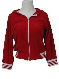 1980's Womens Totally 80s Terry Cloth Track Jacket