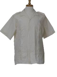 1970's Mens Safari Style Guayabera Shirt