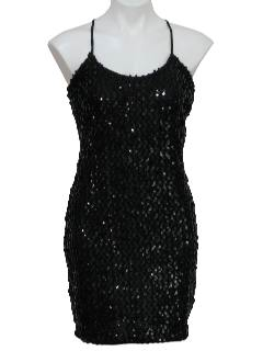 1980's Womens Sequined Mini Cocktail Little Black Dress