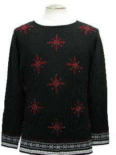 1980's Womens Beaded Ugly Christmas Cocktail Sweater