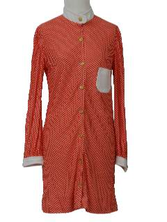 1970's Womens Mod Mini Knit Twiggy Style Dress