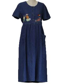 1980's Womens Totally 80s Denim Maxi Dress