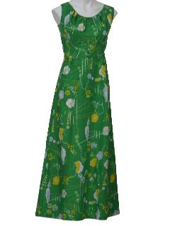 1970's Womens Maxi Hawaiian Style Dress