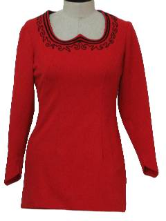 1970's Womens Mod Micro Knit Mini Dress