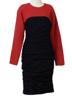 1980's Womens Totally 80s Wool Cocktail Dress