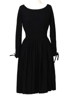 1950's Womens Designer Little Black Cocktail Dress