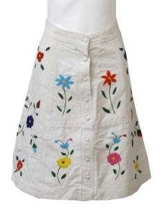 1970's Womens Mod Floral Skirt