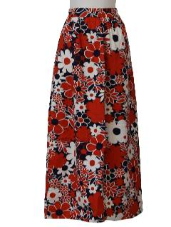 1970's Womens Mod Pow-Flower Hippie Skirt