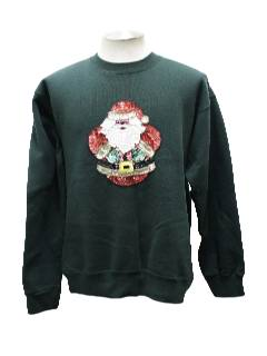 1980's Unisex Sequined Santa Ugly Christmas Sweatshirt