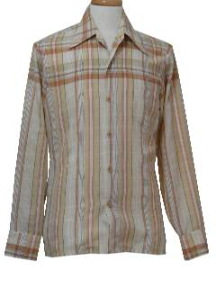 1970's Mens Print Disco-Cut Sport Shirt