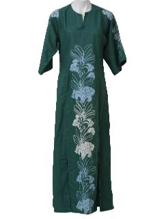 1980's Womens Hawaiian Hippie Maxi Dress
