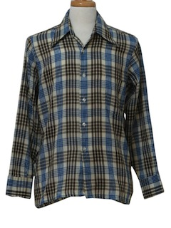 1970's Mens Mod Plaid Sport Shirt