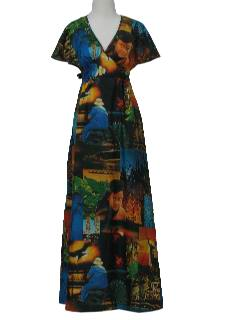 1970's Womens Photo Print Hawaiian Dress