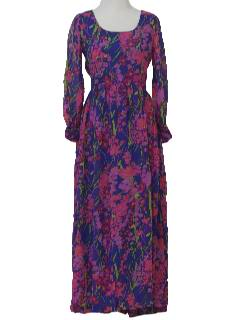 1960's Womens Floral Silk Maxi Hippie Dress
