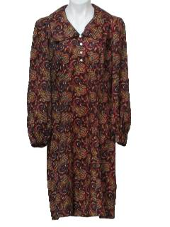 1970's Womens Paisley Hippie Style Dress