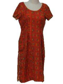 1970's Womens Ethnic Hippie Salwar Kameez Style Tunic Top Shirt