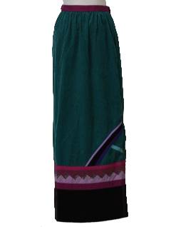 1980's Womens Wrap Maxi Hippie Skirt