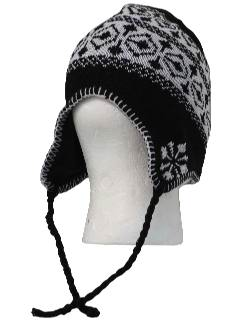 1980's Unisex Accessories - Christmas Snowflake Ear Flap Knit Hat