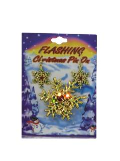 1980's Unisex Accessories - Ugly Christmas Flashing Light-up Pin with Earrings