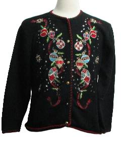 1980's Womens Sequined Ugly Christmas Cocktail Sweater