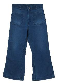 1970's Mens Navy Issue Denim Bellbottom Jeans pants.