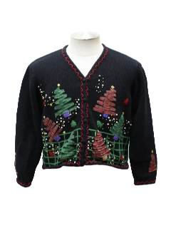 1980's Womens Totally 80s Style Short Cropped Ugly Christmas Sweater