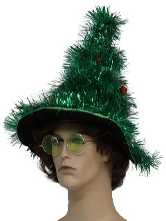 1980's Unisex Accessories - Hat: Ugly Christmas Tree Tinsel Hat