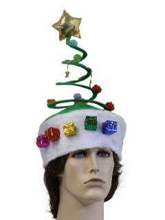 1990's Unisex Accessories - Dr. Suess Style Springy Coil Christmas Tree Hat to wear with your Ugly Christmas Sweater