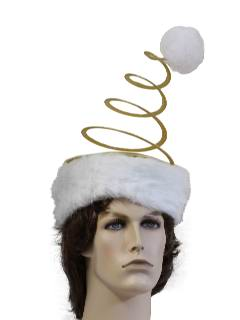 1990's Unisex Accessories - Dr. Suess Style Springy Coil Gold Santa Style Hat to wear with your Ugly Christmas Sweater