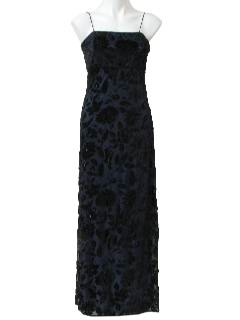 1980's Womens Totally 80s Cocktail Beaded Gown Dress