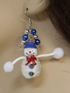 1990's Womens Accessories - Christmas Snowmen Earrings